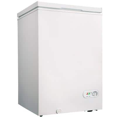 3.5 cu. Ft. Manual Residential Chest Freezer in White with Removable Storage Basket and 7 Temperature Settings