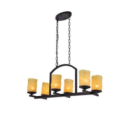 29.75 in. x 13.12 in. 6-Light Vintage Yellow Metal Island Chandelier with Glass Shades