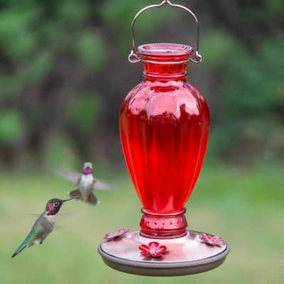 Red Daisy Vase Decorative Glass Hummingbird Feeder - 18 oz. Capacity