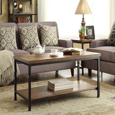 Austin 44 in. Black/Ash Veneer Large Rectangle Wood Coffee Table with Shelf