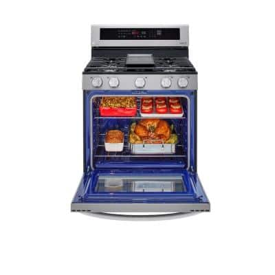 5.8 cu. ft. Smart Wi-Fi Enabled True Convection InstaView Gas Range Oven with Air Fry in Printproof Stainless Steel