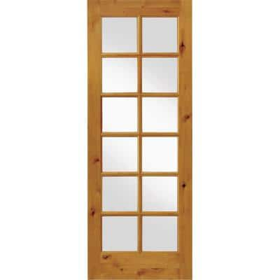 30 in. x 96 in. Rustic Knotty Alder 12-Lite Clear Glass Unfinished Wood Front Door Slab