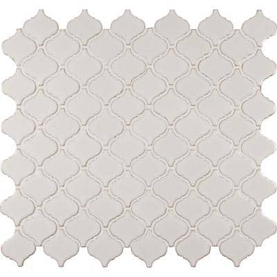 Bianco Arabesque 9.84 in. x 10.63 in. x 6mm Glossy Ceramic Mesh-Mounted Mosaic Tile (10.95 sq. ft. / case)