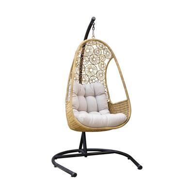Rimini Wicker Single Swing with Beige Cushion