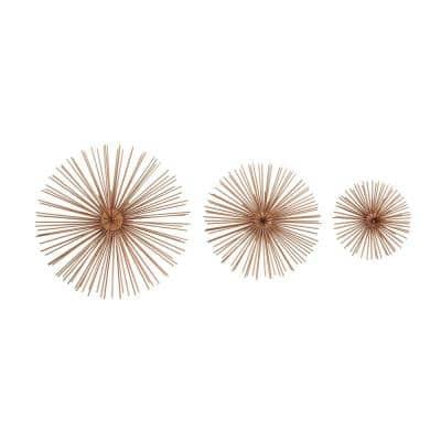 Industrial Arts Iron Copper Brown Starburst Wall Decor (Set of 3)