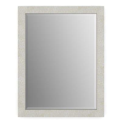 23 in. W x 33 in. H (S2) Framed Rectangular Deluxe Glass Bathroom Vanity Mirror in Stone Mosaic