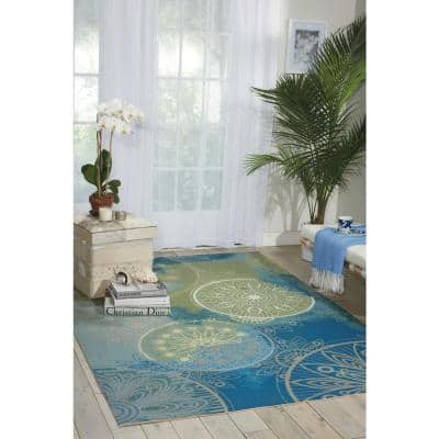 Home and Garden Blue 10 ft. x 13 ft. Medallion Contemporary Indoor/Outdoor Area Rug