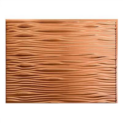 18.25 in. x 24.25 in. Waves Vinyl Backsplash Panel in Polished Copper (5-Pack)
