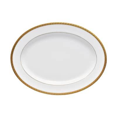 Charlotta Gold/White Porcelain Oval Platter 14 in.