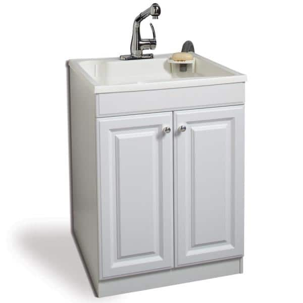 Glacier Bay All In One 24 In X 24 2 In Plastic Laundry Sink And Wood Cabinet In White With Non Metallic Pull Out Faucet In Chrome Lt2036wwhd The Home Depot