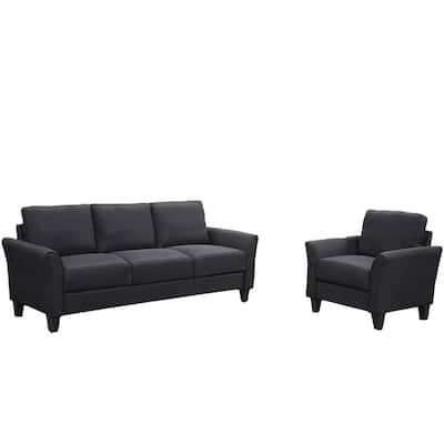 2PieceBlack Living Room Single Chair and 3-Seat Sofa