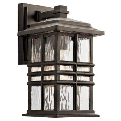 Beacon Square 12 in. 1-Light Olde Bronze Outdoor Wall Mount Sconce with Clear Hammered Glass