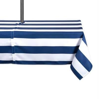 Outdoor 60 in. x 120 in. Nautical Blue Cabana Stripe Polyester with Zipper Tablecloth