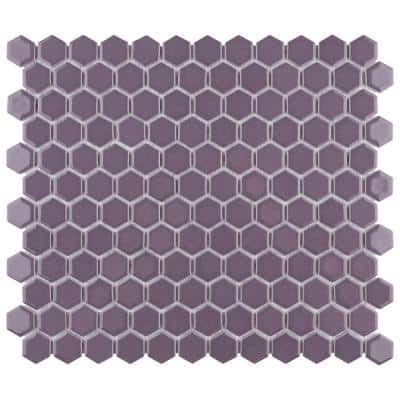 Take Home Tile Sample - Metro Hex 1 in. Glossy Purple 6 in. x 6 in. Porcelain Mosaic