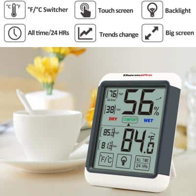 Digital Humidity Monitor and Temperature Comfort Thermometer with Jumbo Touchscreen and Backlight