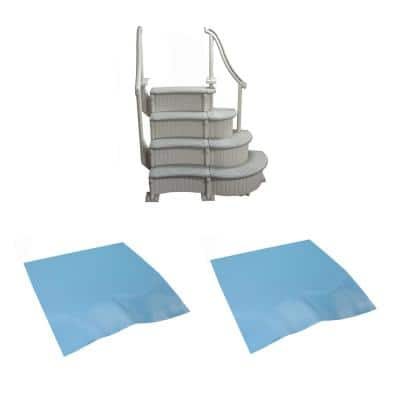 4-Step Curved Grand Entry System Steps Plus Mat for Above-Ground Swimming Pool
