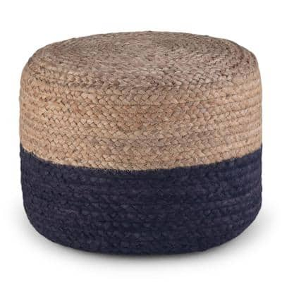 Lydia Contemporary Navy Natural Braided Jute Round Pouf
