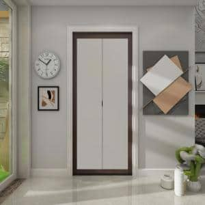 36 in. x 80.5 in. Mocha 1-Lite Indoor Studio MDF Wood Frame with Frosted Glass Interior Bi-Fold Closet Door