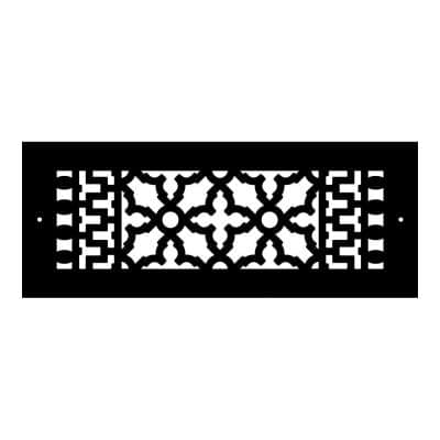 Scroll Series 12 in. x 4 in. Cast Iron Grille, Black with Mounting Holes