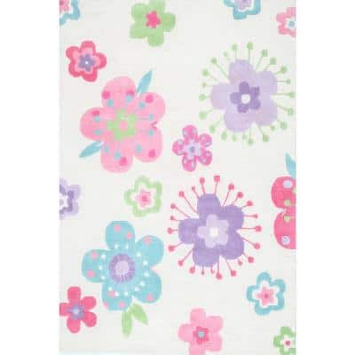 Floral Nursery Playmat Off White 5 ft. x 7 ft.  Area Rug
