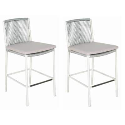 Skopelos White Aluminum Outdoor Bar Stool with Taupe Cushion (2-Pack)