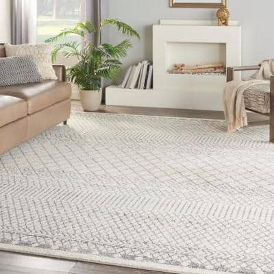 Passion Ivory/Grey 9 ft. x 12 ft. Geometric Transitional Area Rug