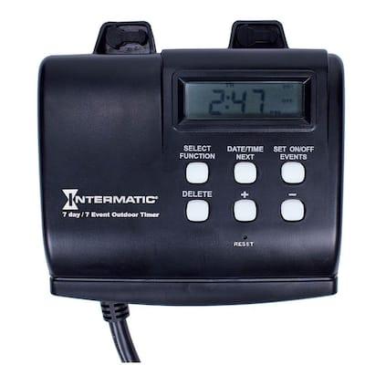 15 Amp 7-Day Outdoor Digital Plug-In Timer - Black