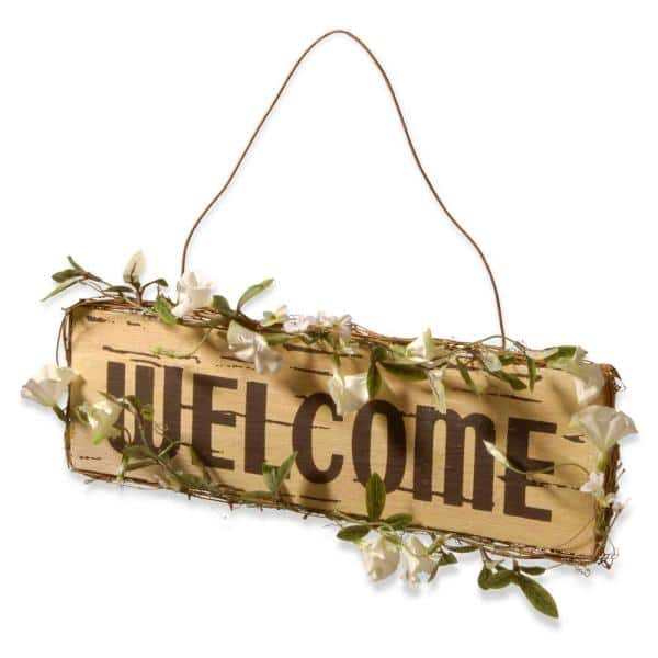 National Tree Company 21 in. Welcome in Door Sign-RAS-KD030149 - The Home  Depot
