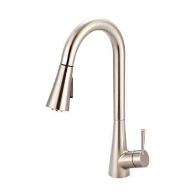 i2 Single-Handle Pull-Down Sprayer Kitchen Faucet with Bell Shaped Sprayer in Brushed Nickel