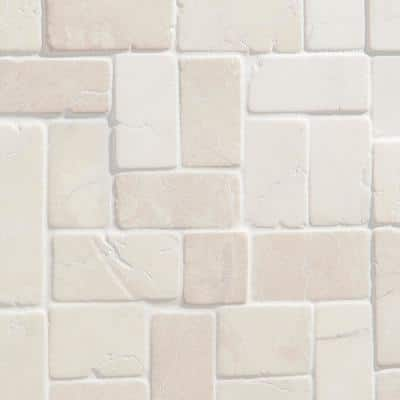 4 in. x 6 in. Countryside White Interlocking Mosaic Floor and Wall Tile Sample