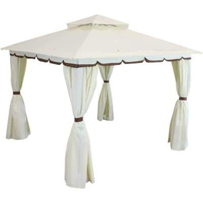 10 ft. x 10 ft. Soft Top Cream Gazebo with Mesh Screen and Privacy Walls