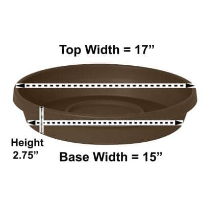 Terra 17 in. Chocolate Plastic Plant Saucer Tray