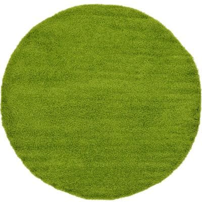 Solid Shag Grass Green 8 ft. Round Area Rug