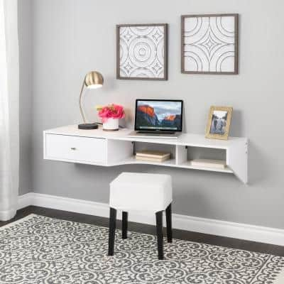 58.25 in. Modern White Floating Desk with Drawer