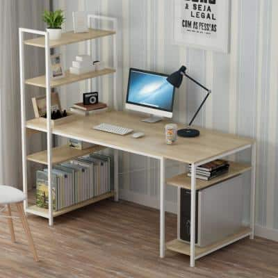 55.1 in. Beige Wood Computer Desk with 5-Tier Shelves, Writing Study Table Metal Frame Leg Workstation Home Office