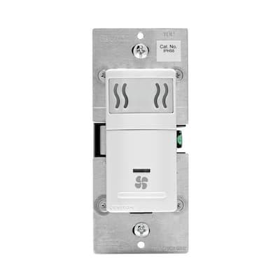 Decora In-Wall Humidity Sensor & Fan Control, 3 A, Single Pole, White