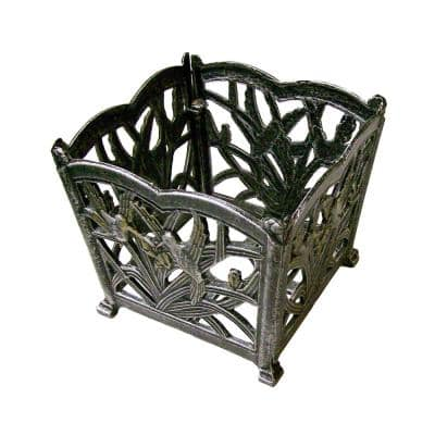 Hummingbird 8 in. Square Flower Pot - Cast Aluminum