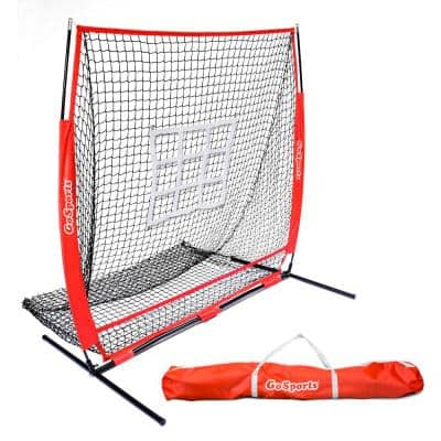 5 ft. x 5 ft. Baseball and Softball Practice Pitching and Fielding Net with Bow Frame Carry Bag and Bonus Strike Zone