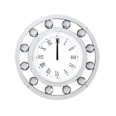 White Mirrored Round Shape Wooden Wall Clock