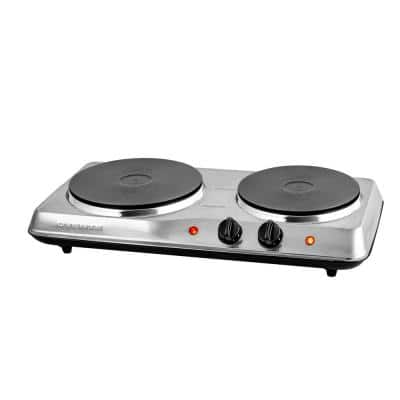 2 Burner 6 in. and 7 in. Stainless Steel Silver Hot Plate
