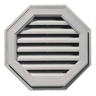 22 in. x 22 in. Octagon Gray Plastic Built-in Screen Gable Louver Vent