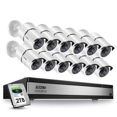 16-Channel 1080p 2TB DVR Security Camera System with 12 Wired Bullet Cameras