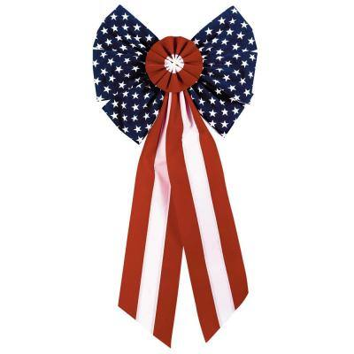 28 in. x 14 in. Patriotic Flocked Bow (3-Pack)