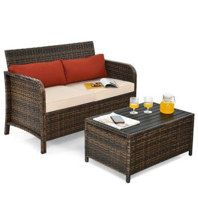 Patio 2-Piece Plastic Outdoor Loveseat with Beige Red Cushions