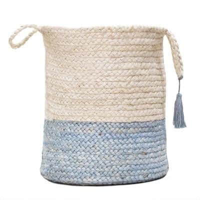 Two-Tone Off-White / Blue 19 in. Jute Decorative Storage Basket with Handles