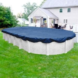 Pro-Select 15 ft. x 30 ft. Oval Blue Solid Above Ground Winter Pool Cover