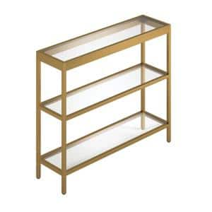 Alexis 36 in. Brass Standard Rectangle Glass Console Table with Storage