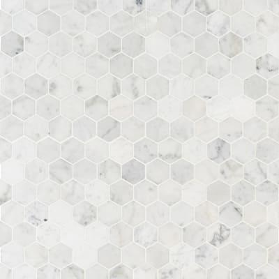 Take Home Tile Sample - Carrara White Hexagon 6 in. x 6 in. x 8mm Honed Marble Mesh-Mounted Mosaic Tile