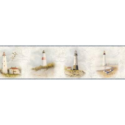 Arya White Lighthouse Coast Red Wallpaper Border Sample