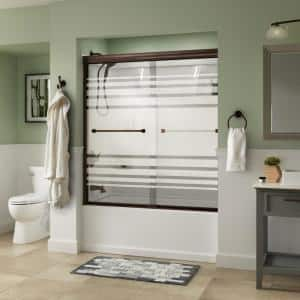 Everly 60 in. x 58-1/8 in. Traditional Semi-Frameless Sliding Bathtub Door in Bronze and 1/4 in. (6mm) Transition Glass